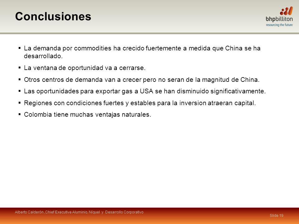 Conclusiones Slide 19 La demanda por commodities ha crecido fuertemente a medida que China se ha desarrollado. La ventana de oportunidad va a cerrarse