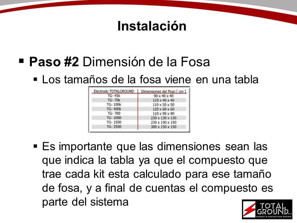 Instalación Paso #2 Dimensión de la Fosa Los tamaños de la fosa viene en una tabla Es importante que las dimensiones sean las que indica la tabla ya q