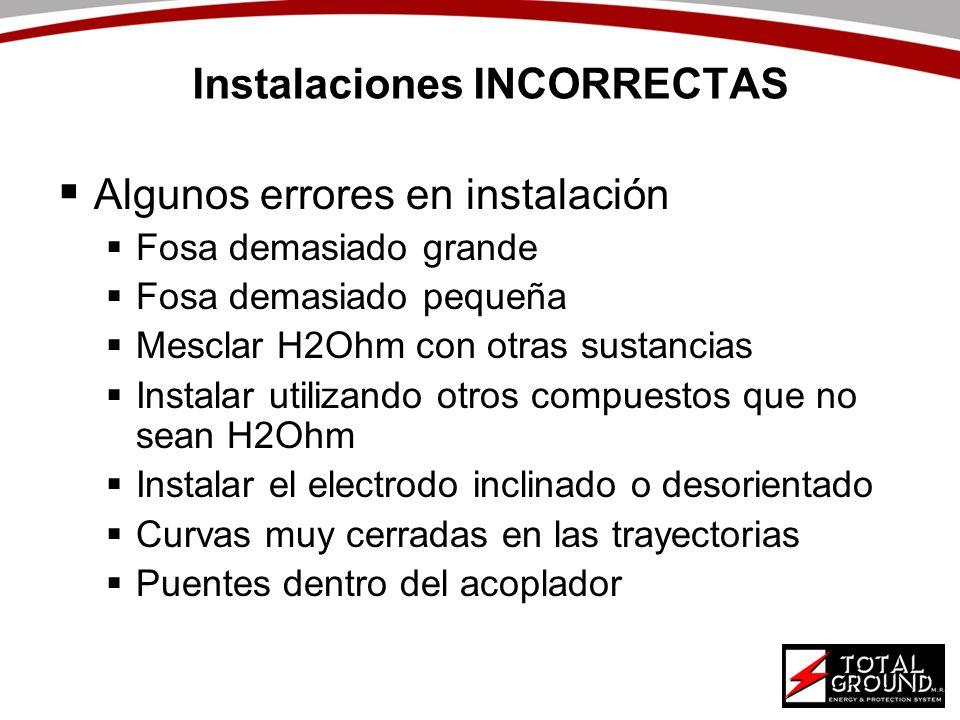 Instalaciones INCORRECTAS Algunos errores en instalación Fosa demasiado grande Fosa demasiado pequeña Mesclar H2Ohm con otras sustancias Instalar util