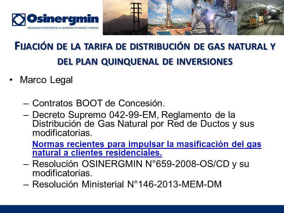F IJACIÓN DE LA TARIFA DE DISTRIBUCIÓN DE GAS NATURAL Y DEL PLAN QUINQUENAL DE INVERSIONES Marco Legal –Contratos BOOT de Concesión.