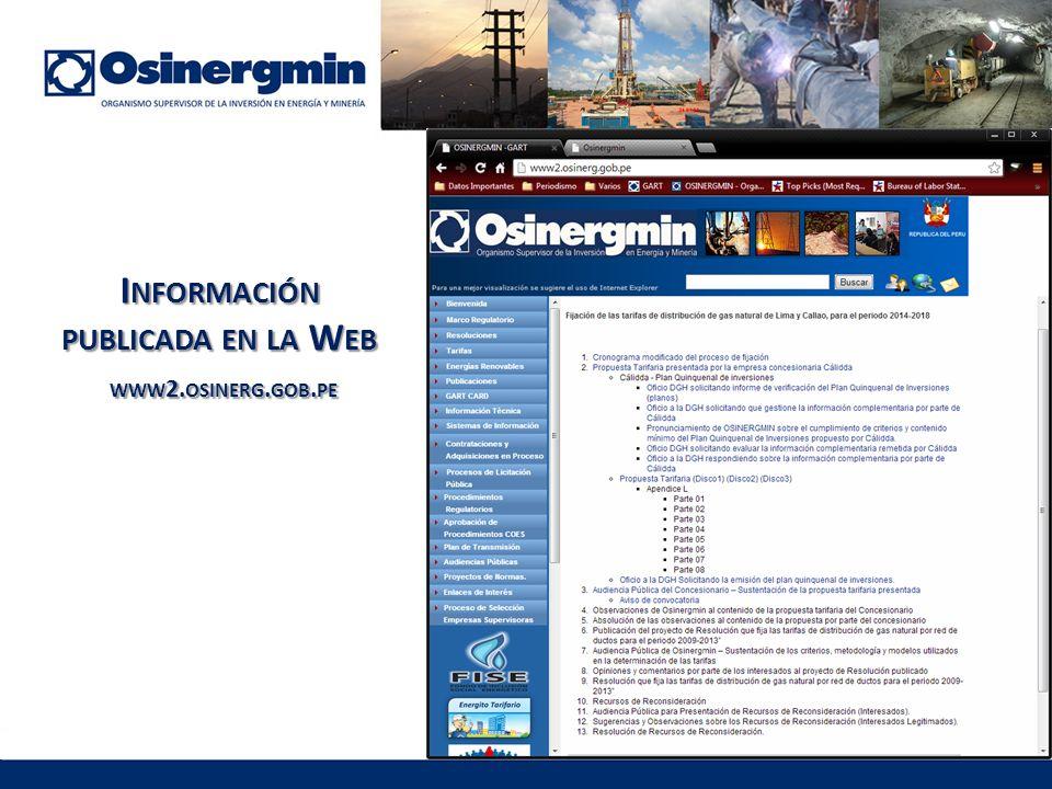 I NFORMACIÓN PUBLICADA EN LA W EB WWW 2. OSINERG. GOB. PE