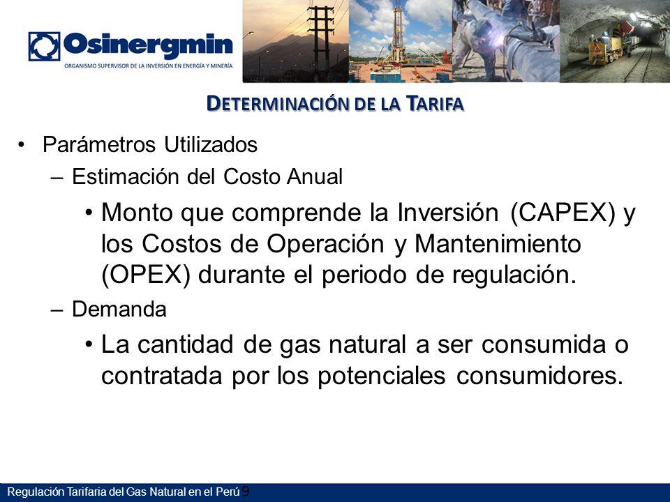 D ETERMINACIÓN DE LA T ARIFA Parámetros Utilizados –Estimación del Costo Anual Monto que comprende la Inversión (CAPEX) y los Costos de Operación y Mantenimiento (OPEX) durante el periodo de regulación.