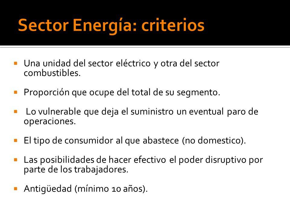 Una unidad del sector eléctrico y otra del sector combustibles. Proporción que ocupe del total de su segmento. Lo vulnerable que deja el suministro un
