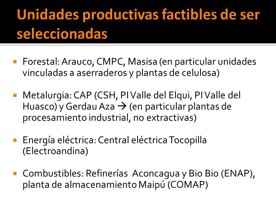 Forestal: Arauco, CMPC, Masisa (en particular unidades vinculadas a aserraderos y plantas de celulosa) Metalurgia: CAP (CSH, PI Valle del Elqui, PI Valle del Huasco) y Gerdau Aza (en particular plantas de procesamiento industrial, no extractivas) Energía eléctrica: Central eléctrica Tocopilla (Electroandina) Combustibles: Refinerías Aconcagua y Bio Bio (ENAP), planta de almacenamiento Maipú (COMAP)