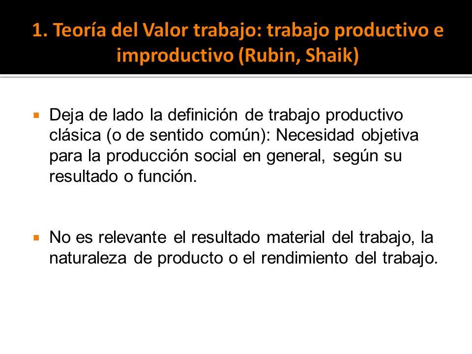 Deja de lado la definición de trabajo productivo clásica (o de sentido común): Necesidad objetiva para la producción social en general, según su resul