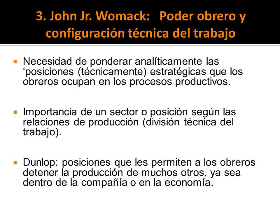 Necesidad de ponderar analíticamente las posiciones (técnicamente) estratégicas que los obreros ocupan en los procesos productivos. Importancia de un