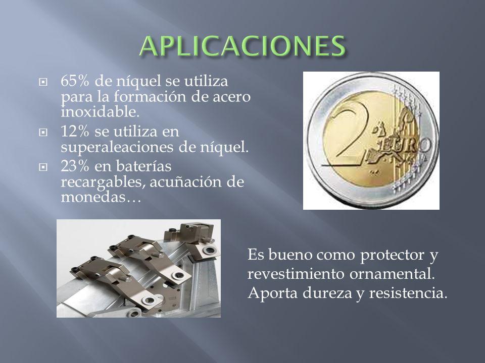 65% de níquel se utiliza para la formación de acero inoxidable. 12% se utiliza en superaleaciones de níquel. 23% en baterías recargables, acuñación de