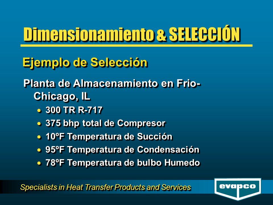 Specialists in Heat Transfer Products and Services Planta de Almacenamiento en Frio- Chicago, IL 300 TR R-717 300 TR R-717 375 bhp total de Compresor 375 bhp total de Compresor 10ºF Temperatura de Succión 10ºF Temperatura de Succión 95ºF Temperatura de Condensación 95ºF Temperatura de Condensación 78ºF Temperatura de bulbo Humedo 78ºF Temperatura de bulbo Humedo Planta de Almacenamiento en Frio- Chicago, IL 300 TR R-717 300 TR R-717 375 bhp total de Compresor 375 bhp total de Compresor 10ºF Temperatura de Succión 10ºF Temperatura de Succión 95ºF Temperatura de Condensación 95ºF Temperatura de Condensación 78ºF Temperatura de bulbo Humedo 78ºF Temperatura de bulbo Humedo Ejemplo de Selección Dimensionamiento & SELECCIÓN