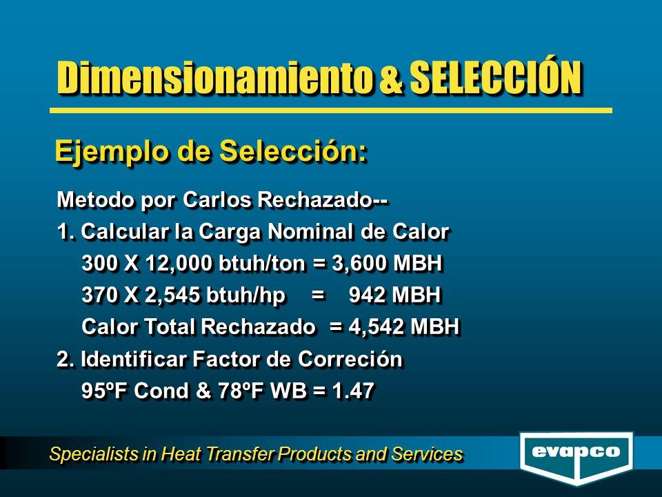 Specialists in Heat Transfer Products and Services Metodo por Carlos Rechazado-- 1. Calcular la Carga Nominal de Calor 300 X 12,000 btuh/ton = 3,600 M