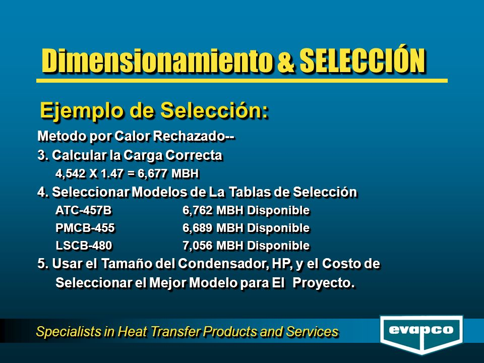 Specialists in Heat Transfer Products and Services Metodo por Calor Rechazado-- 3.
