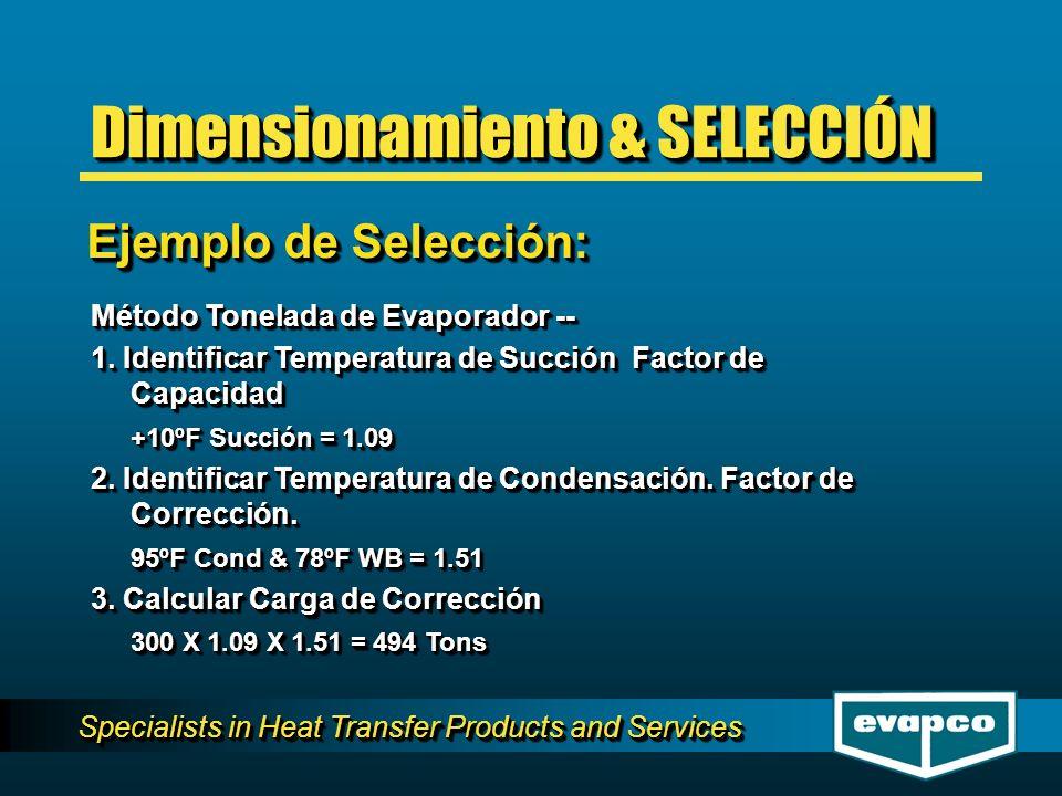 Specialists in Heat Transfer Products and Services Método Tonelada de Evaporador -- 1. Identificar Temperatura de Succión Factor de Capacidad +10ºF Su