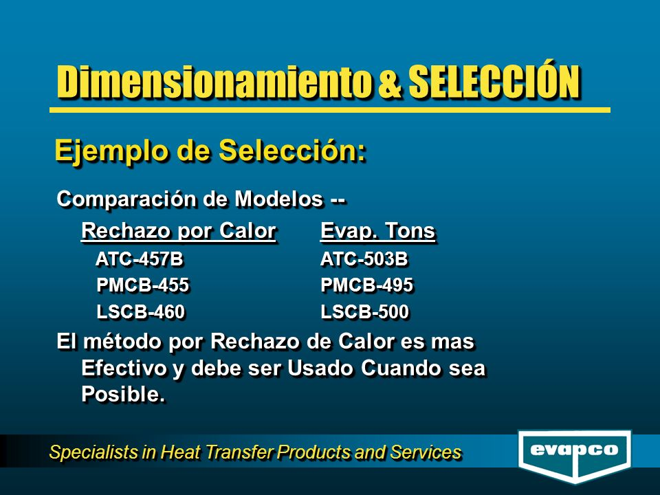 Specialists in Heat Transfer Products and Services Comparación de Modelos -- Rechazo por CalorEvap.