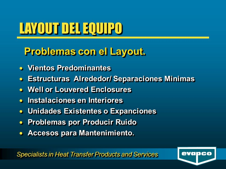 Specialists in Heat Transfer Products and Services WIND DIRECTION CORRECTOCORRECTO LAYOUT DEL EQUIPO