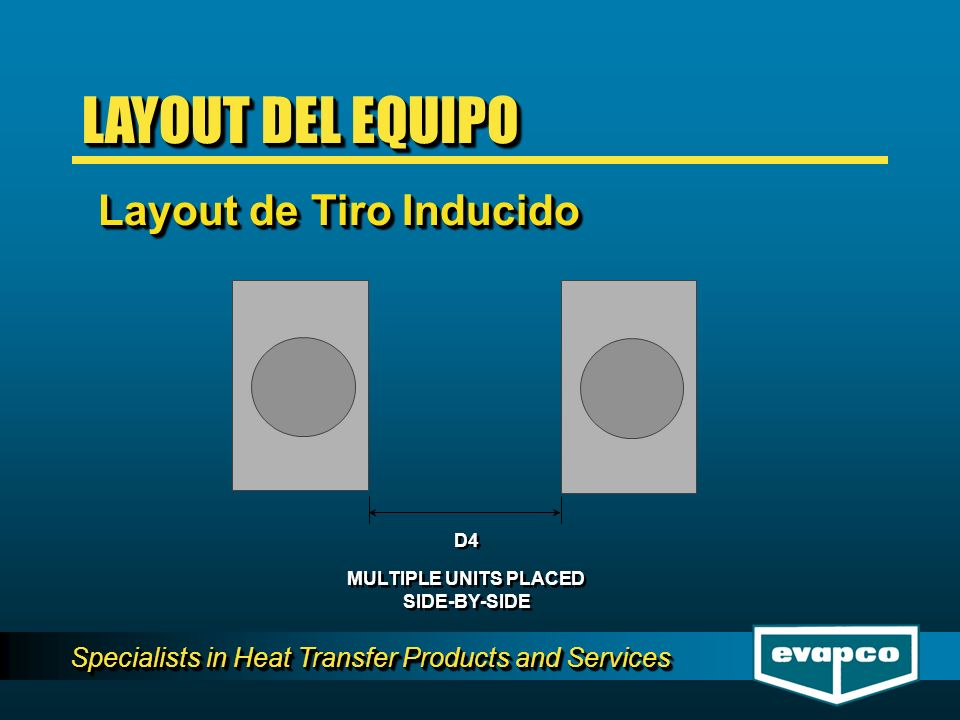 Specialists in Heat Transfer Products and Services D4 MULTIPLE UNITS PLACED SIDE-BY-SIDE MULTIPLE UNITS PLACED SIDE-BY-SIDE LAYOUT DEL EQUIPO Layout d