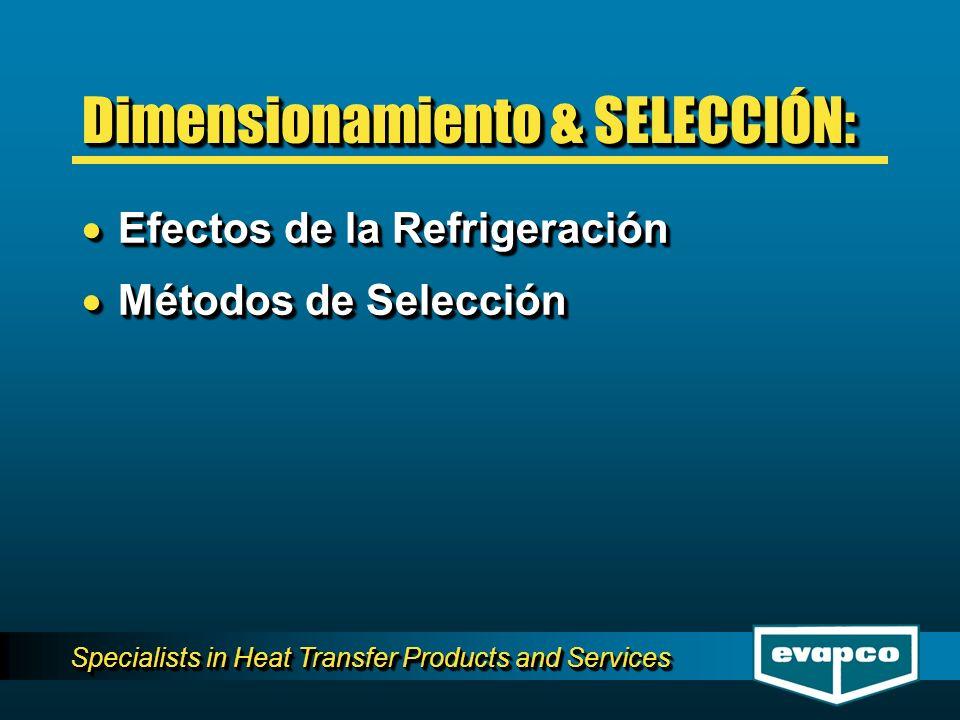 Specialists in Heat Transfer Products and Services Dimensionamiento & SELECCIÓN: Efectos de la Refrigeración Efectos de la Refrigeración Métodos de Se