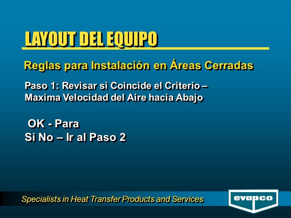 Specialists in Heat Transfer Products and Services Paso 1: Revisar si Coincide el Criterio – Maxima Velocidad del Aire hacia Abajo OK - Para OK - Para