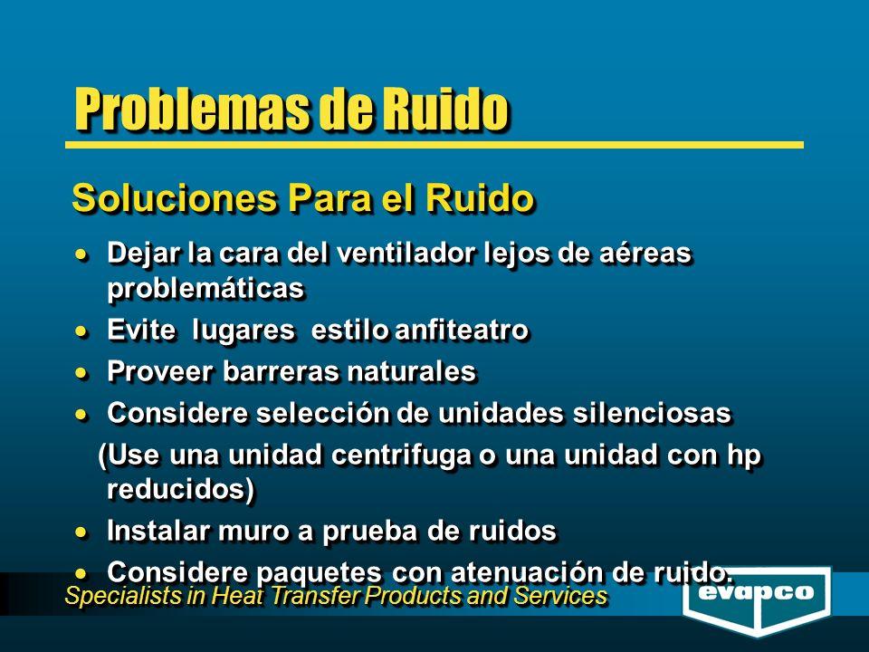 Specialists in Heat Transfer Products and Services Soluciones Para el Ruido Problemas de Ruido Dejar la cara del ventilador lejos de aéreas problemáti