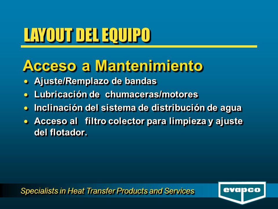 Specialists in Heat Transfer Products and Services Ajuste/Remplazo de bandas Ajuste/Remplazo de bandas Lubricación de chumaceras/motores Lubricación d