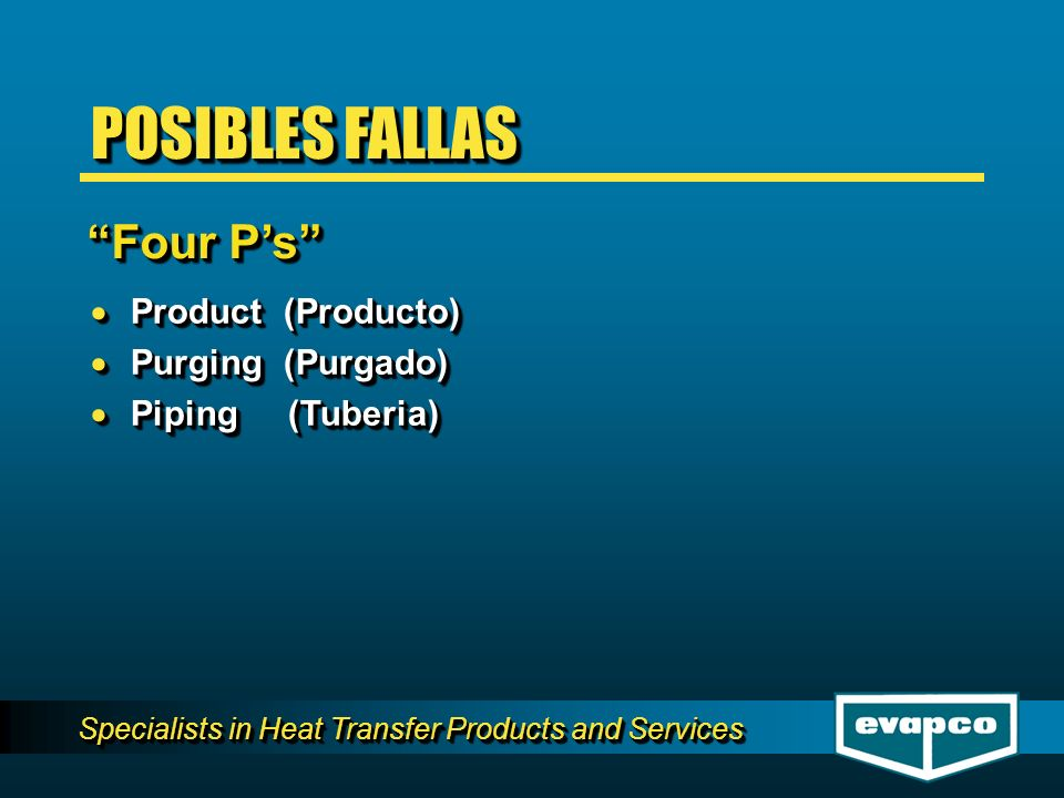 Specialists in Heat Transfer Products and Services Product (Producto) Product (Producto) Purging (Purgado) Purging (Purgado) Piping (Tuberia) Piping (