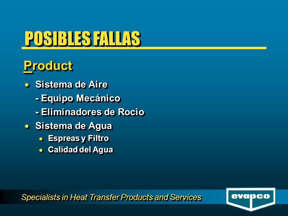 Specialists in Heat Transfer Products and Services Sistema de Aire Sistema de Aire - Equipo Mecánico - Eliminadores de Rocio Sistema de Agua Sistema d