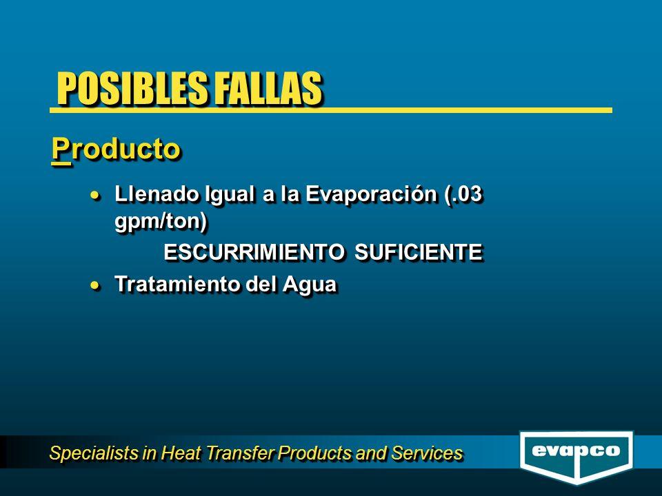 Specialists in Heat Transfer Products and Services Llenado Igual a la Evaporación (.03 gpm/ton) Llenado Igual a la Evaporación (.03 gpm/ton) ESCURRIMI