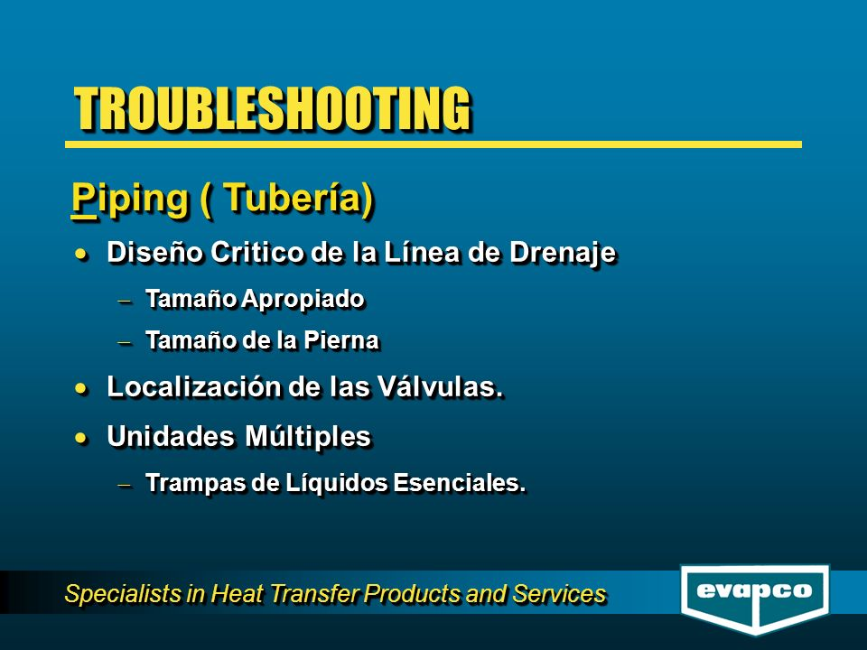 Specialists in Heat Transfer Products and Services Estacional vs.