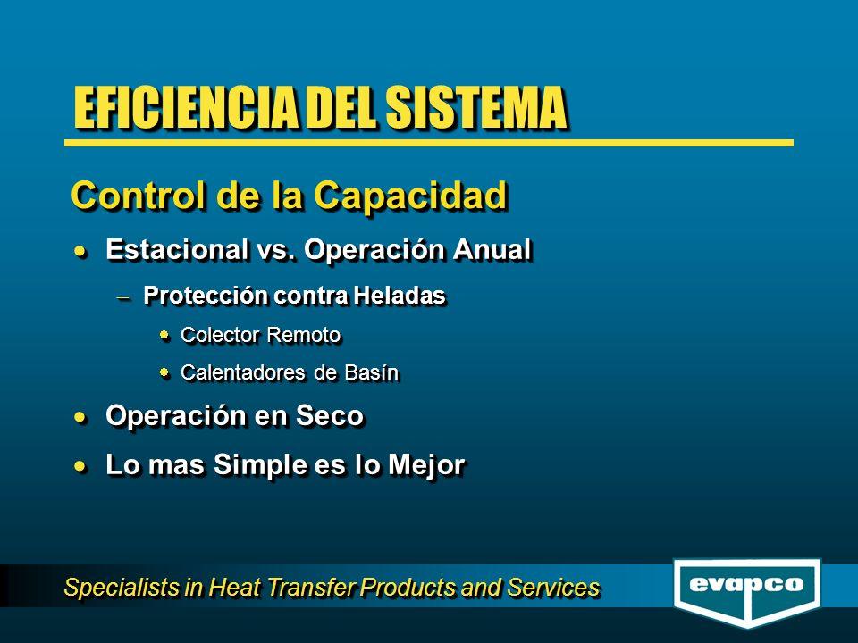 Specialists in Heat Transfer Products and Services Estacional vs. Operación Anual Estacional vs. Operación Anual Protección contra Heladas Protección