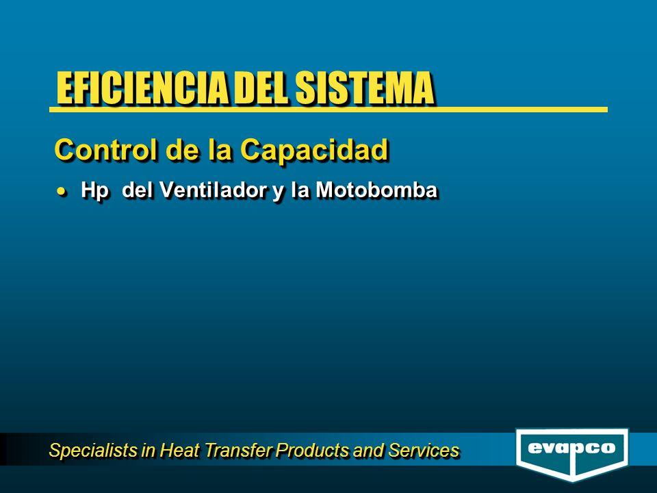 Specialists in Heat Transfer Products and Services Hp del Ventilador y la Motobomba Hp del Ventilador y la Motobomba Control de la Capacidad EFICIENCIA DEL SISTEMA