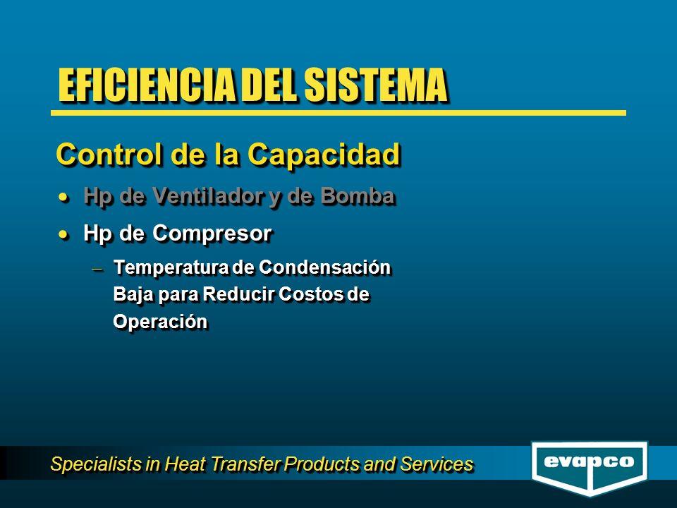 Specialists in Heat Transfer Products and Services Hp de Ventilador y de Bomba Hp de Ventilador y de Bomba Hp de Compresor Hp de Compresor Temperatura