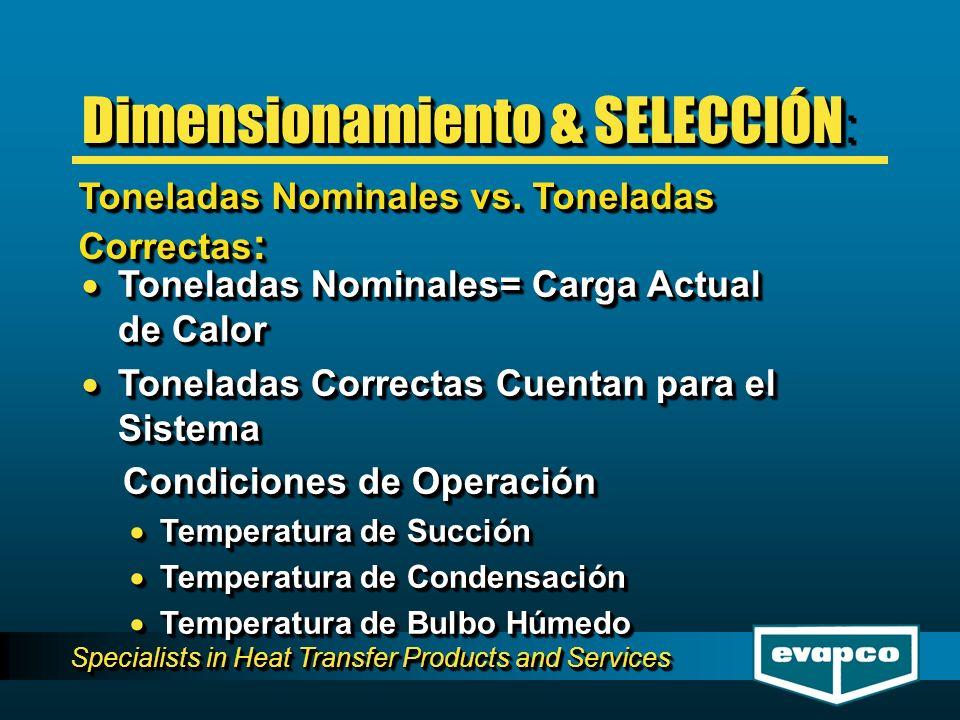 Specialists in Heat Transfer Products and Services Toneladas Nominales= Carga Actual de Calor Toneladas Nominales= Carga Actual de Calor Toneladas Correctas Cuentan para el Sistema Toneladas Correctas Cuentan para el Sistema Condiciones de Operación Condiciones de Operación Temperatura de Succión Temperatura de Succión Temperatura de Condensación Temperatura de Condensación Temperatura de Bulbo Húmedo Temperatura de Bulbo Húmedo Toneladas Nominales= Carga Actual de Calor Toneladas Nominales= Carga Actual de Calor Toneladas Correctas Cuentan para el Sistema Toneladas Correctas Cuentan para el Sistema Condiciones de Operación Condiciones de Operación Temperatura de Succión Temperatura de Succión Temperatura de Condensación Temperatura de Condensación Temperatura de Bulbo Húmedo Temperatura de Bulbo Húmedo Toneladas Nominales vs.