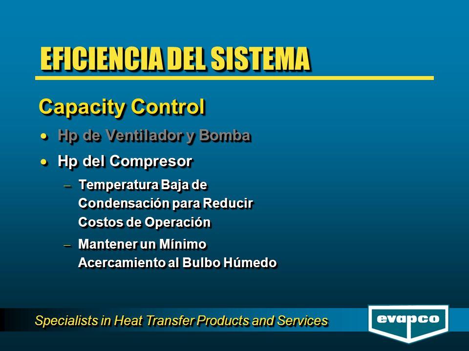 Specialists in Heat Transfer Products and Services Hp de Ventilador y Bomba Hp de Ventilador y Bomba Hp del Compresor Hp del Compresor Temperatura Baj