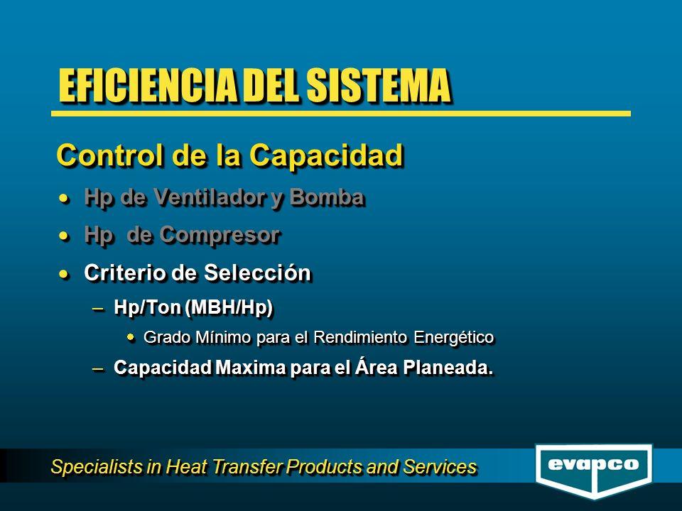 Specialists in Heat Transfer Products and Services Hp de Ventilador y Bomba Hp de Ventilador y Bomba Hp de Compresor Hp de Compresor Criterio de Selec