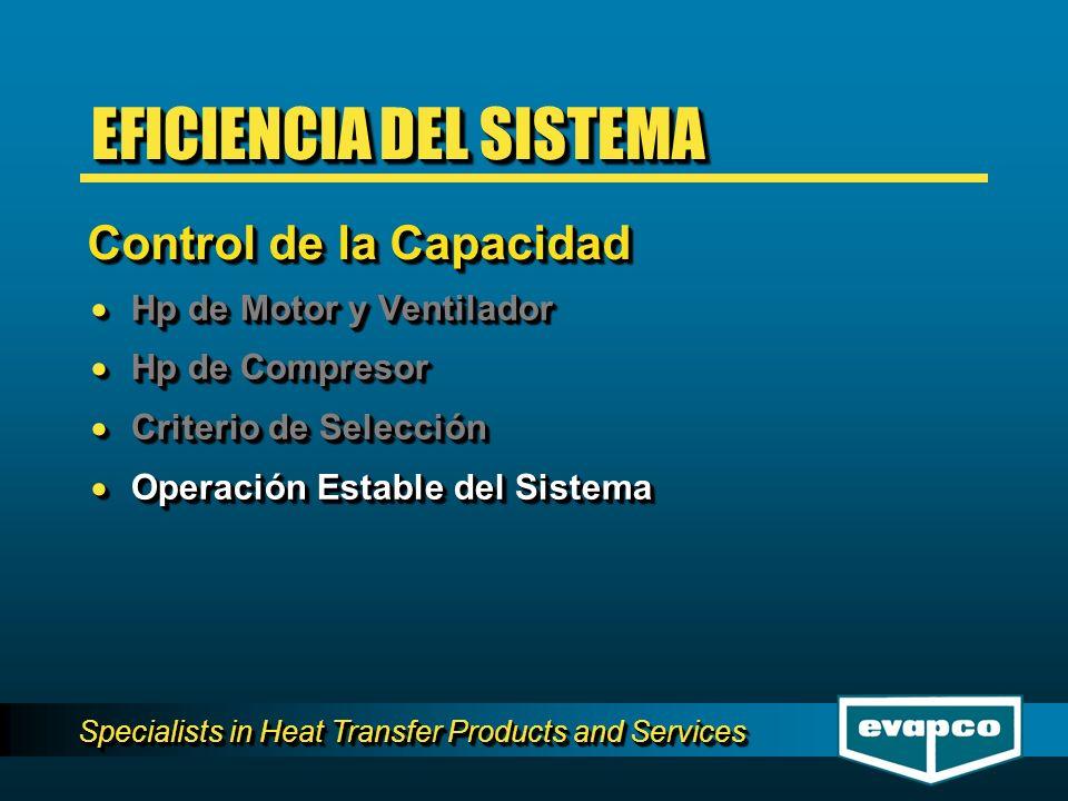 Specialists in Heat Transfer Products and Services Hp de Motor y Ventilador Hp de Motor y Ventilador Hp de Compresor Hp de Compresor Criterio de Selec
