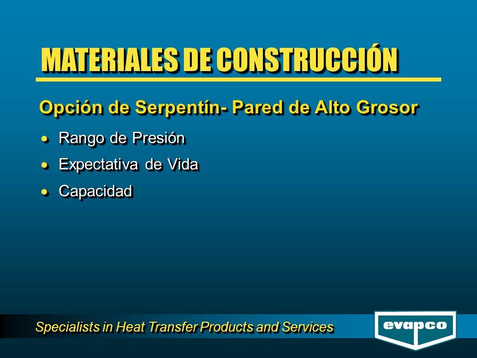 Specialists in Heat Transfer Products and Services Rango de Presión Rango de Presión Expectativa de Vida Expectativa de Vida Capacidad Capacidad Rango