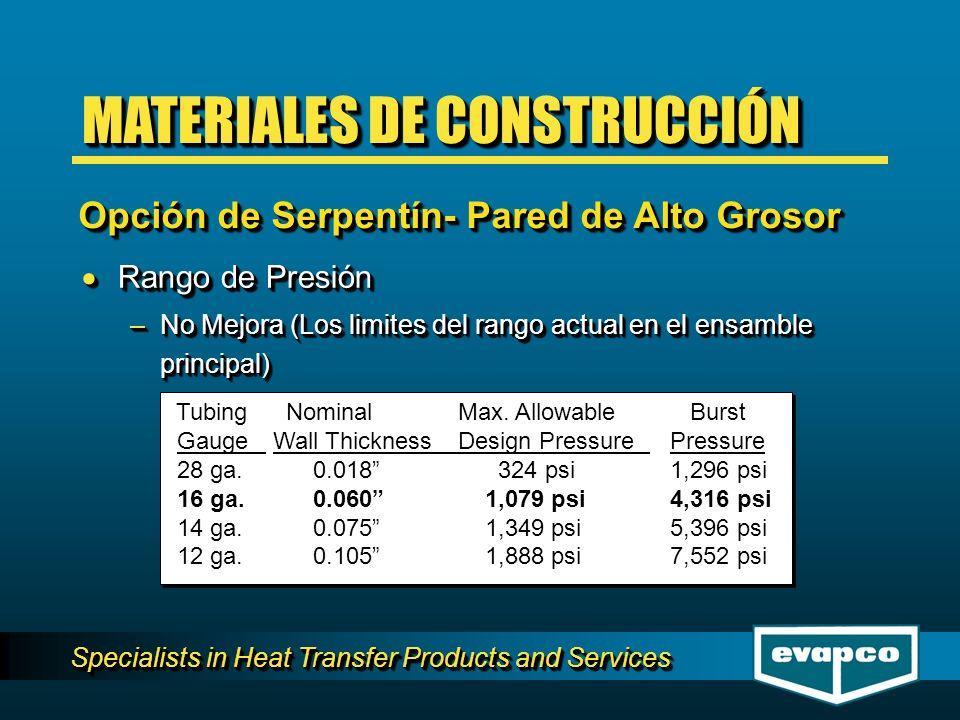 Specialists in Heat Transfer Products and Services Rango de Presión Rango de Presión –No Mejora (Los limites del rango actual en el ensamble principal