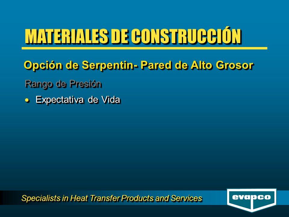 Specialists in Heat Transfer Products and Services Rango de Presión Expectativa de Vida Expectativa de Vida Rango de Presión Expectativa de Vida Expec