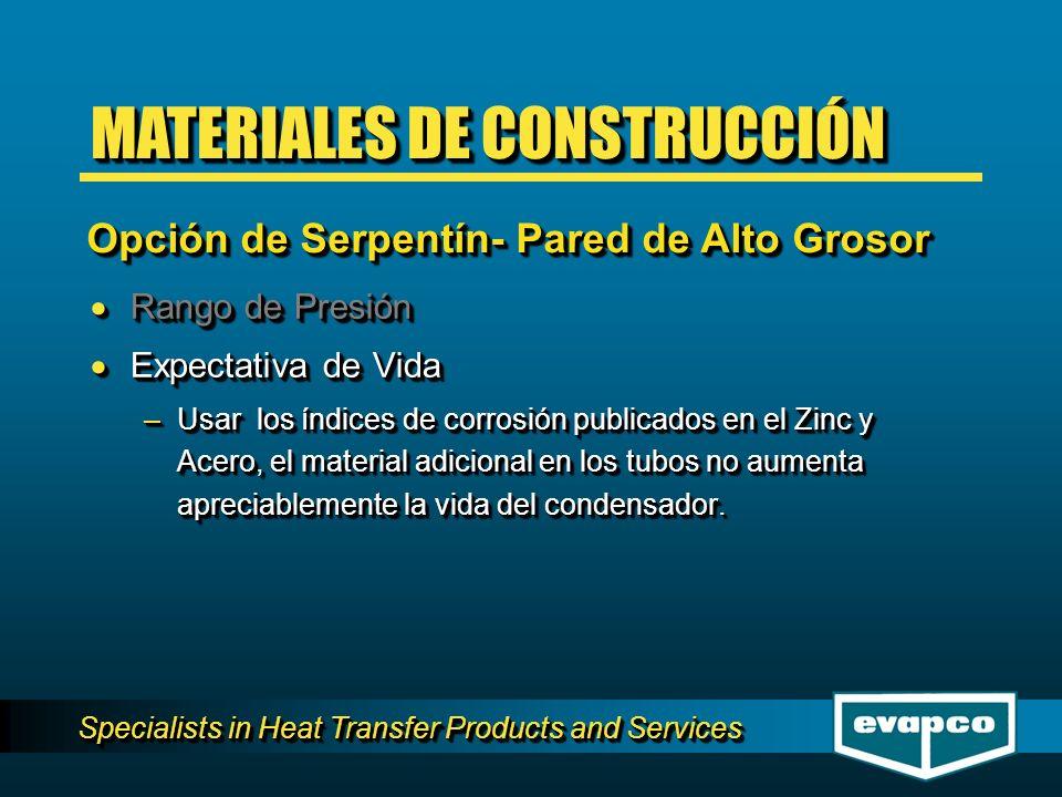 Specialists in Heat Transfer Products and Services Rango de Presión Rango de Presión Expectativa de Vida Expectativa de Vida –Usar los índices de corr