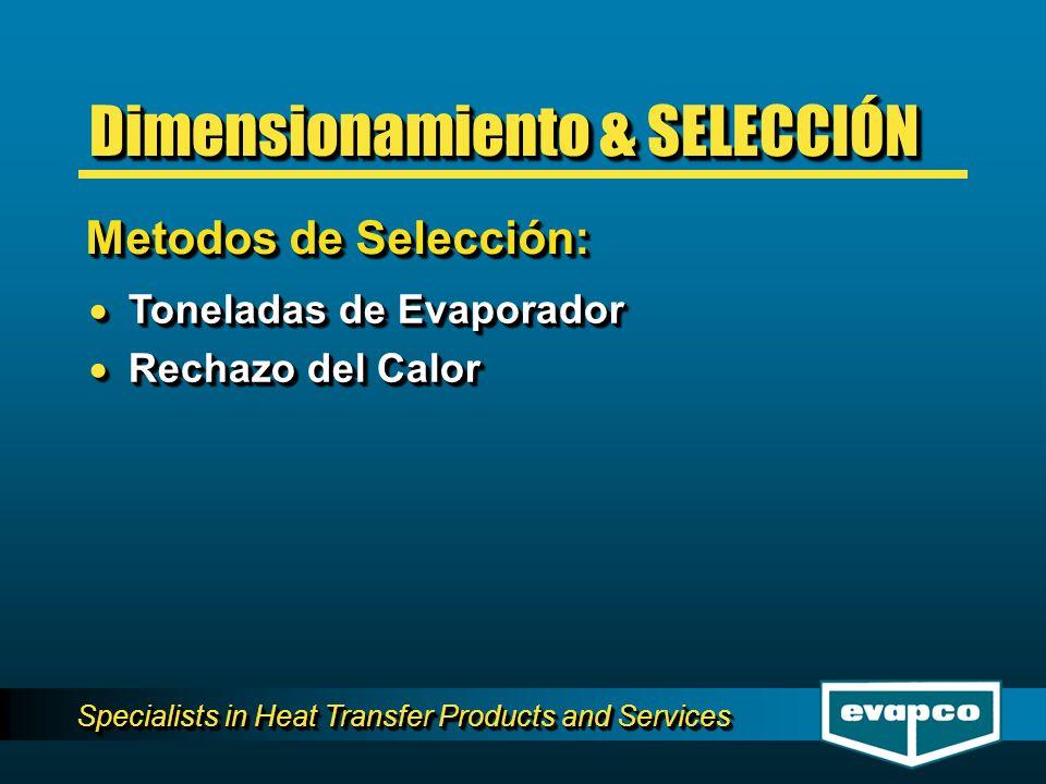 Specialists in Heat Transfer Products and Services Toneladas de Evaporador Toneladas de Evaporador Rechazo del Calor Rechazo del Calor Toneladas de Evaporador Toneladas de Evaporador Rechazo del Calor Rechazo del Calor Metodos de Selección: Dimensionamiento & SELECCIÓN