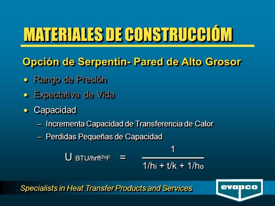 Specialists in Heat Transfer Products and Services Rango de Presión Rango de Presión Expectativa de Vida Expectativa de Vida Capacidad Capacidad –Incrementa Capacidad de Transferencia de Calor –Perdidas Pequeñas de Capacidad Rango de Presión Rango de Presión Expectativa de Vida Expectativa de Vida Capacidad Capacidad –Incrementa Capacidad de Transferencia de Calor –Perdidas Pequeñas de Capacidad U BTU/hrft 2o F = = 1 1/h i + t/k + 1/h o 1 1/h i + t/k + 1/h o MATERIALES DE CONSTRUCCIÓM Opción de Serpentín- Pared de Alto Grosor