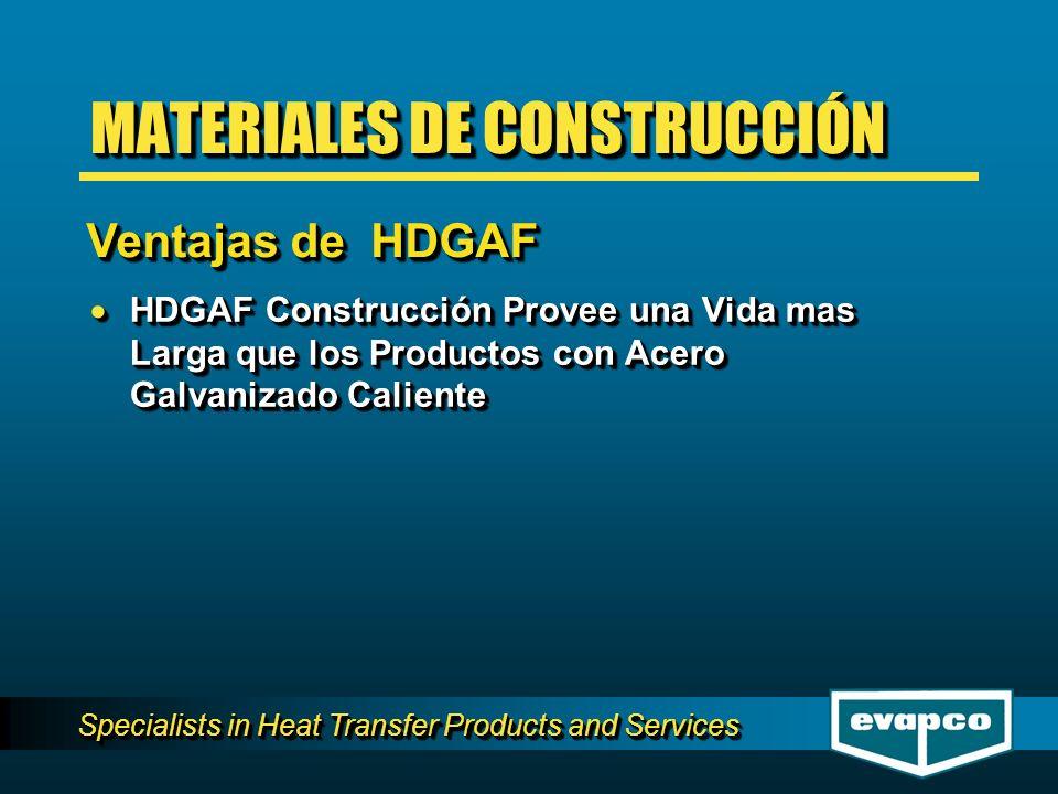 Specialists in Heat Transfer Products and Services HDGAF Construcción Provee una Vida mas Larga que los Productos con Acero Galvanizado Caliente HDGAF Construcción Provee una Vida mas Larga que los Productos con Acero Galvanizado Caliente MATERIALES DE CONSTRUCCIÓN Ventajas de HDGAF