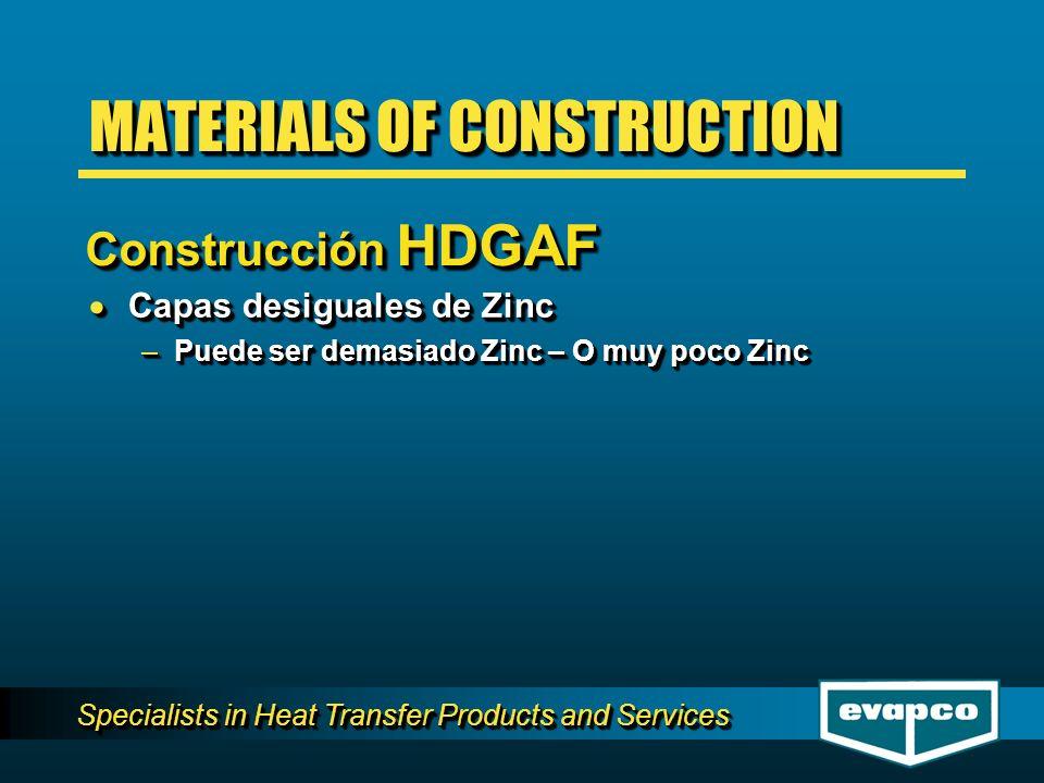 Specialists in Heat Transfer Products and Services Capas desiguales de Zinc Capas desiguales de Zinc –Puede ser demasiado Zinc – O muy poco Zinc Capas desiguales de Zinc Capas desiguales de Zinc –Puede ser demasiado Zinc – O muy poco Zinc MATERIALS OF CONSTRUCTION Construcción HDGAF