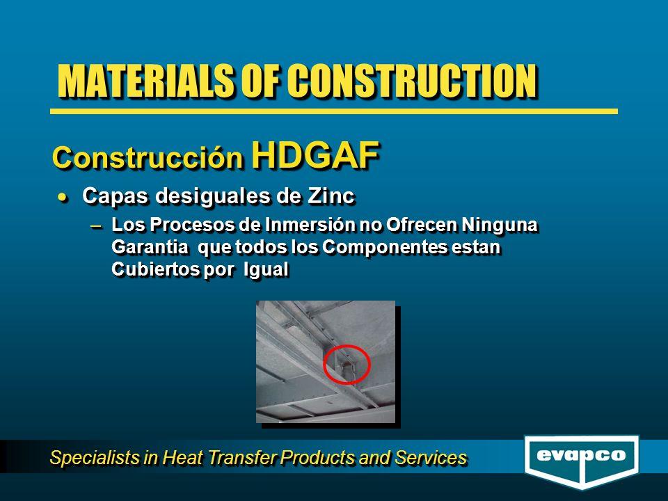 Specialists in Heat Transfer Products and Services Capas desiguales de Zinc Capas desiguales de Zinc –Los Procesos de Inmersión no Ofrecen Ninguna Garantia que todos los Componentes estan Cubiertos por Igual Capas desiguales de Zinc Capas desiguales de Zinc –Los Procesos de Inmersión no Ofrecen Ninguna Garantia que todos los Componentes estan Cubiertos por Igual MATERIALS OF CONSTRUCTION Construcción HDGAF