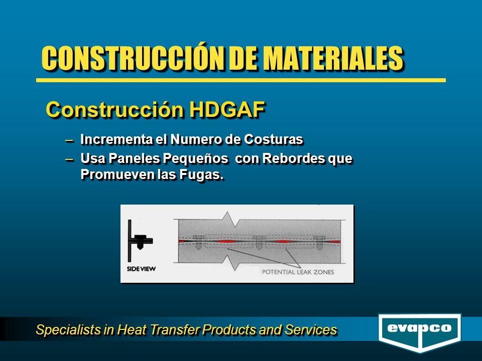 Specialists in Heat Transfer Products and Services –Incrementa el Numero de Costuras –Usa Paneles Pequeños con Rebordes que Promueven las Fugas. –Incr