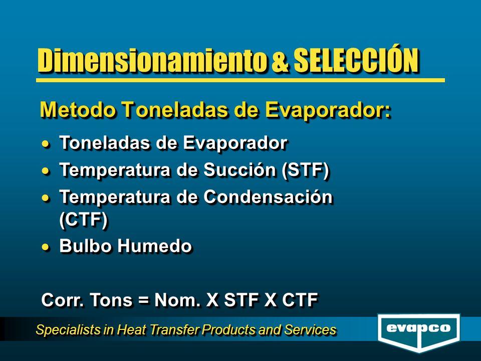 Specialists in Heat Transfer Products and Services Toneladas de Evaporador Toneladas de Evaporador Temperatura de Succión (STF) Temperatura de Succión
