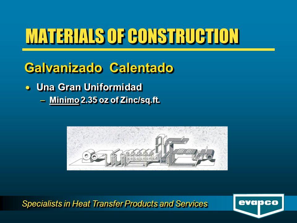 Specialists in Heat Transfer Products and Services Una Gran Uniformidad Una Gran Uniformidad –Minimo 2.35 oz of Zinc/sq.ft. Una Gran Uniformidad Una G