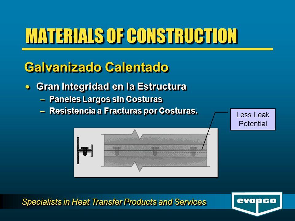 Specialists in Heat Transfer Products and Services Gran Integridad en la Estructura Gran Integridad en la Estructura –Paneles Largos sin Costuras –Resistencia a Fracturas por Costuras.