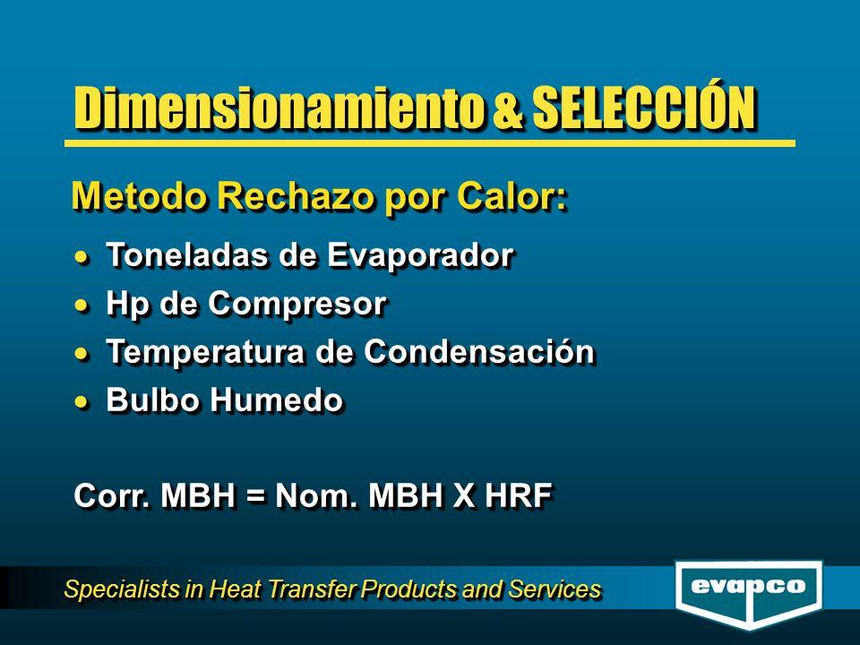Specialists in Heat Transfer Products and Services Toneladas de Evaporador Toneladas de Evaporador Hp de Compresor Hp de Compresor Temperatura de Condensación Temperatura de Condensación Bulbo Humedo Bulbo Humedo Corr.