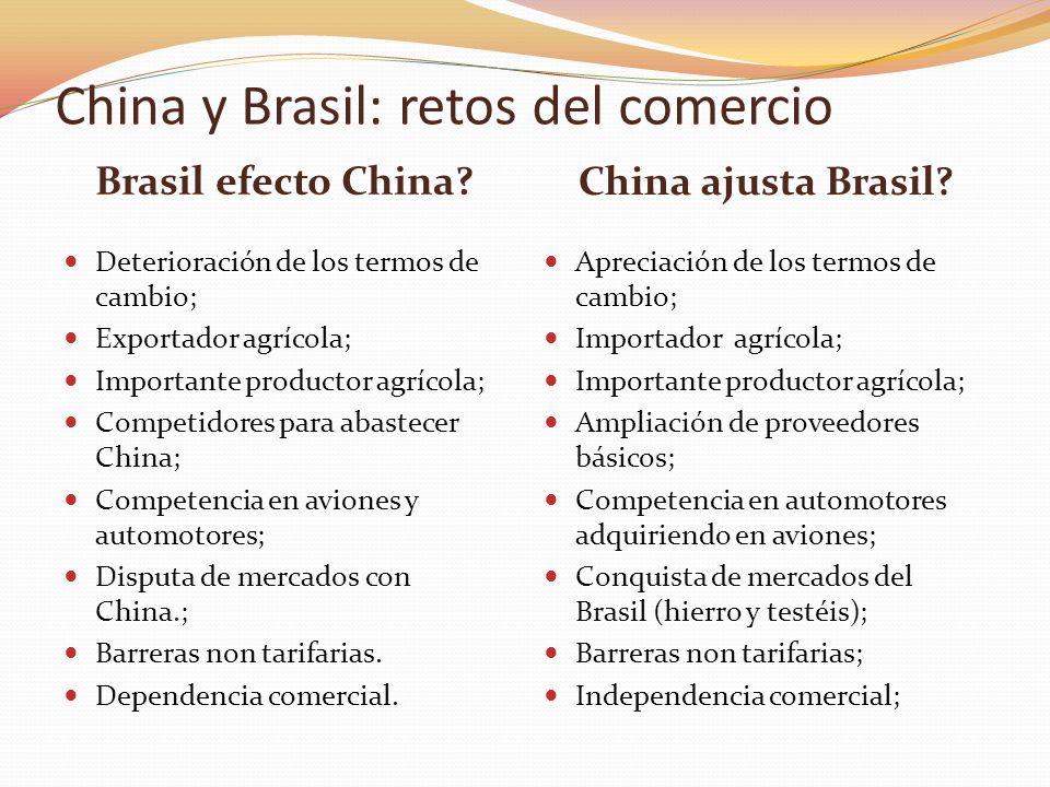 Brasil efecto China? China ajusta Brasil? Deterioración de los termos de cambio; Exportador agrícola; Importante productor agrícola; Competidores para