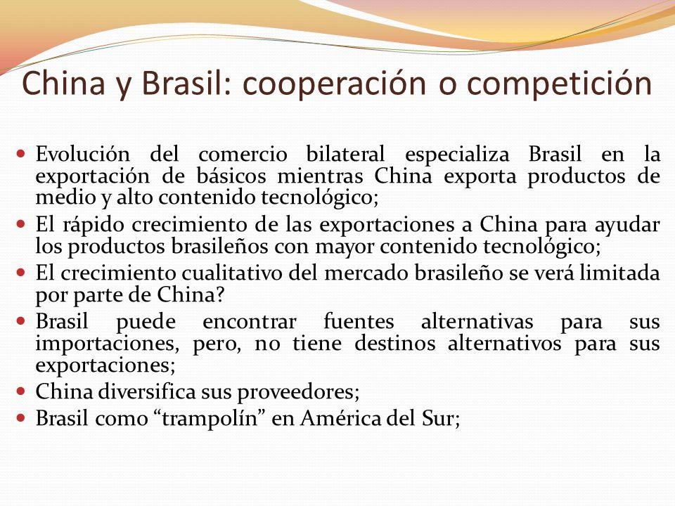 China y Brasil: cooperación o competición Evolución del comercio bilateral especializa Brasil en la exportación de básicos mientras China exporta prod