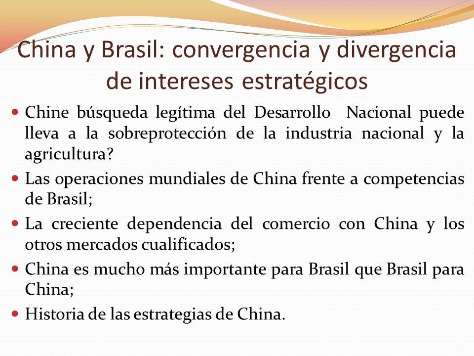 China y Brasil: convergencia y divergencia de intereses estratégicos Chine búsqueda legítima del Desarrollo Nacional puede lleva a la sobreprotección